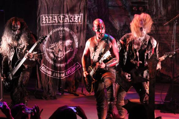 Alvaro Lillo, Set Teitan and Pelle Forsberg of Watain on stage in Tokyo. Photo: Stefan Nilsson
