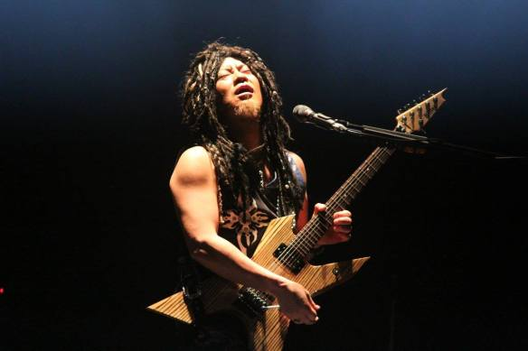 Akira Takasaki of Loudness onstage in Roppongi. Photo: Stefan Nilsson