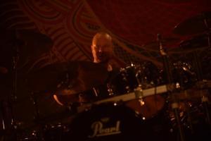 Jan Rechberger of Amorphis onstage in Tokyo. Photo: Masayuki Noda