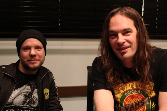 Jan Rechberger and bassist Niclas Etelävuori of Amorphis. Photo: Stefan Nilsson