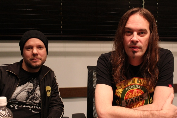 Jan Rechberger and Niclas Etelävuori of Amorphis. Photo: Stefan Nilsson