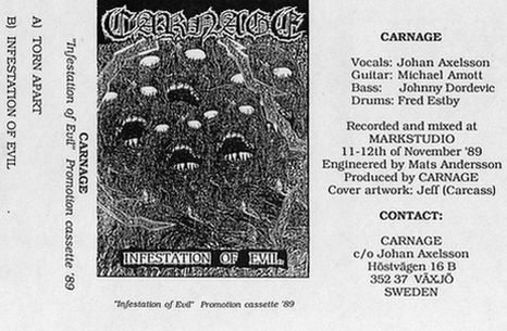 Carnage demo cassette cover from 1989.