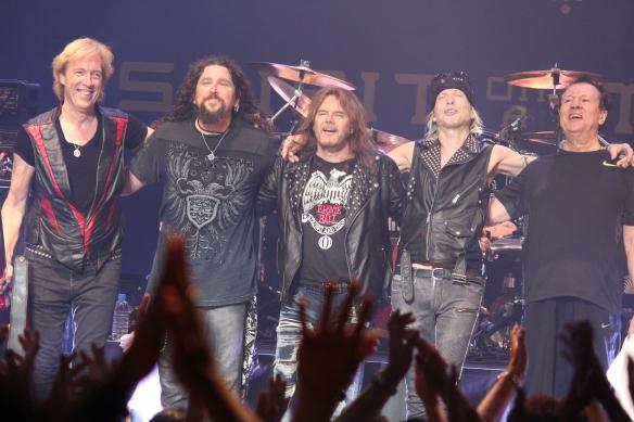 Temple of Rock in Tokyo in 2015: Francis Buchholz, Wayne Findlay, Doogie White, Michael Schenker, Herman Rarebell. Photo: Stefan Nilsson