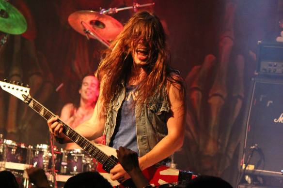 Zach Slaughter of Skull Fist on stage in Tokyo. Photo: Stefan Nilsson
