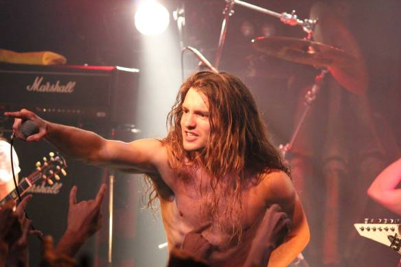 Brian Stephenson of Skull Fist on stage in Tokyo. Photo: Stefan Nilsson
