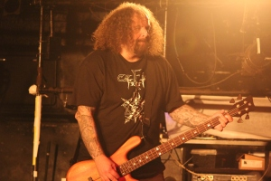 Shane Embury of Napalm Death on stage in Tokyo, 5th September 2016. Photo: Stefan Nilsson