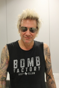 James Michael of Sixx:A.M. posing for Roppongi Rocks, backstage in Japan in Oct 2016. Photo: Stefan Nilsson