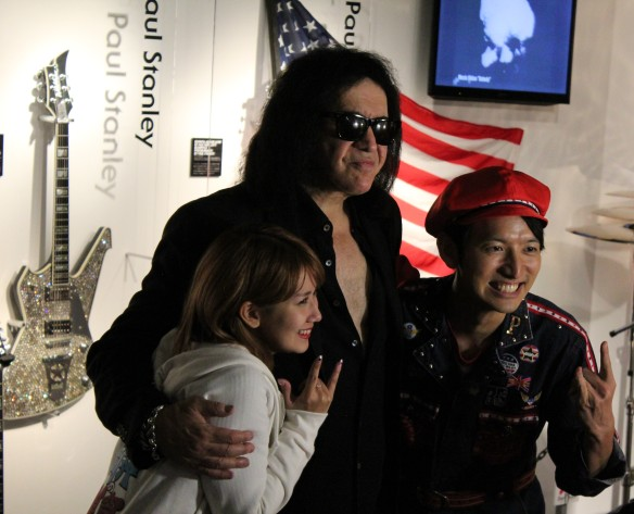 Gene Simmons posing with Japanese TV stars at the KISS Expo in Tokyo, Photo: Stefan Nilsson