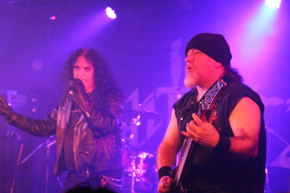 Brian Ross and Ken Johnson of Blitzkrieg on stage in Tokyo. Photo: Stefan Nilsson