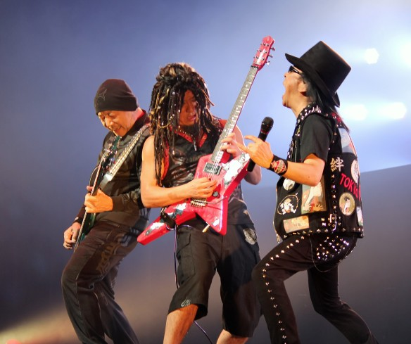 Masayoshi Yamashita, Akira Takasaki and Minoru Niihara of Loudness. Photo: Stefan Nilsson