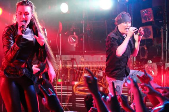 Jake E on stage with Amaranthe in Tokyo in 2013. Photo: Stefan Nilsson, Roppongi Rocks
